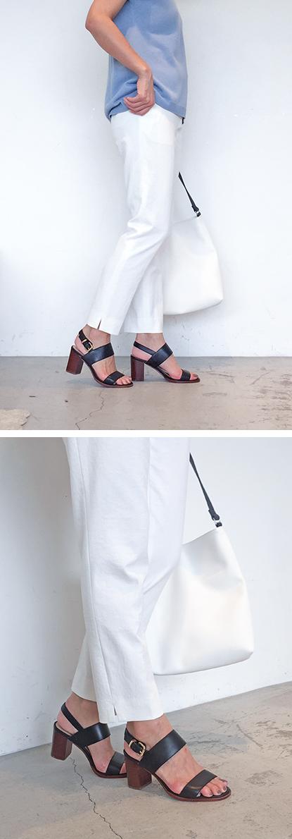 Navy pants × Color sandals